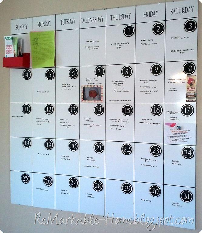 Love this magnetic, dry erase calendar