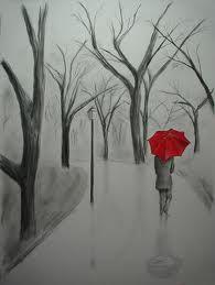 red umbrella in the rain - Google Search