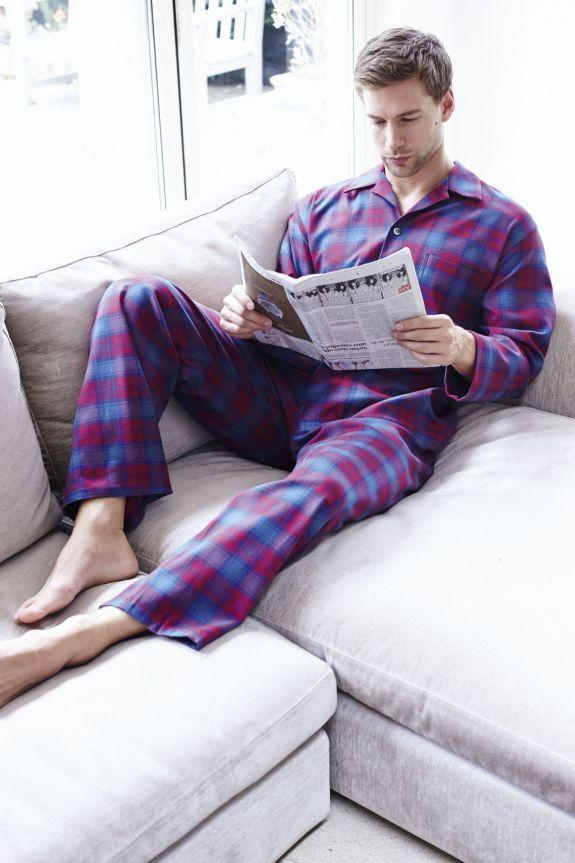 Brushed Cotton Elastic-Waist Men's Pyjamas - Discontinued Colours