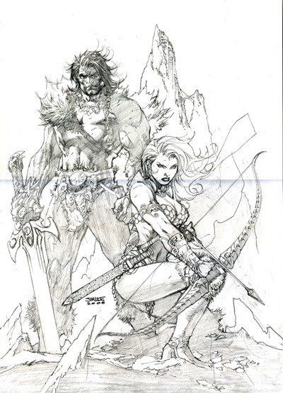 a variant for Red Sonja and Claw the Unconquered # 1, penciled by Jim Lee, and GabrieleDellOtto.Tumblr.com painted over the pencils.