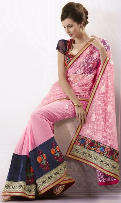 Pink Resham Work Faux Georgette Designer Saree