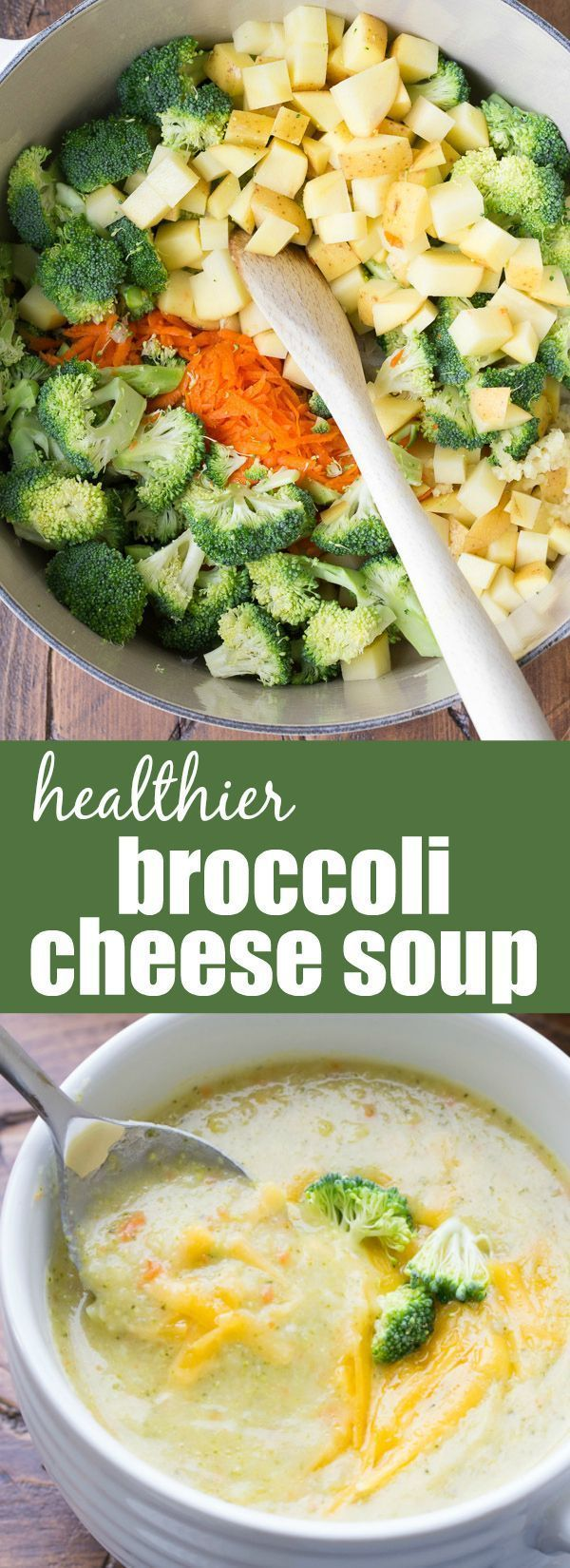 Creamy, hearty Broccoli Cheese Soup (made without cream!). This healthier vegetarian soup takes just 30 minutes to make! | www.kristineskitchenblog.com