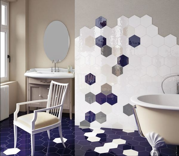 """In style dimensions...hexagonal shiny tiles in blue, grey and white colors! """"Hexatile"""", 17,5x20, made in Spain.  Make your own design......"""