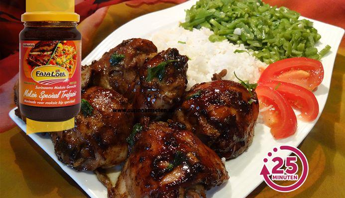 Surinaams eten – Vers geroosterde kip uit de oven met ketjap sambal saus en snijboontjes