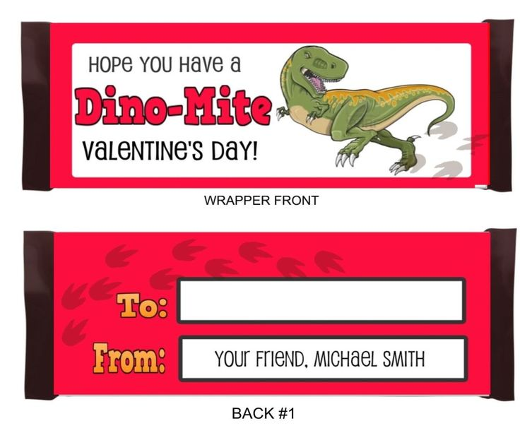 Dinosaur Valentine Party Favor Personalized Candy Bar Wrappers #PartyTimeLabels #ValentinesDay