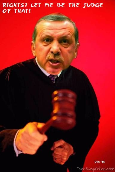 ERDOGAN Dictator Erdogan dismisses almost all 711 judges of his country. And therefore I've made another photo-cartoon of this tyrant.  As long as this demon is in power - hard to believe that so many of the turkish voters support him! -, I can go on creating these! (tag: satire - parody, Erdogan)