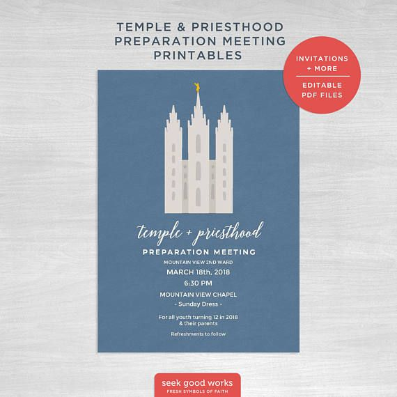 Temple and Priesthood Preparation Invitations Programs and primary - fresh invitation meeting