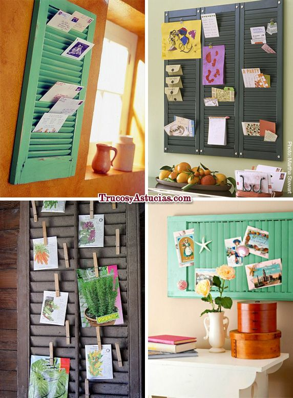 Recicla una persiana mallorquina y convíertela en un tablero de notas: http://trucosyastucias.com/astucias/como-hacer-un-tablero-de-corcho #trucos #truco #idea #ideas #decoracion #casa #original #tip #tips #clever #home #decoration #dit #craft #wall #windows #shutters #recycling #reciclar #repurposed #reutilizar