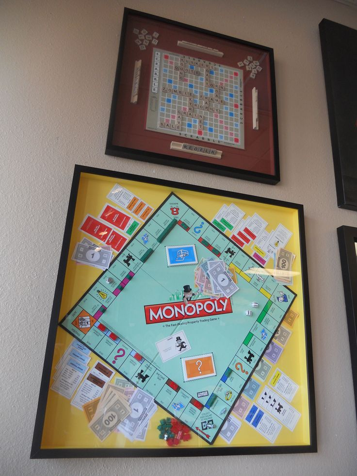 Fun for the Family Game Room! Virtually ANY of the classic board games can be turned into an interesting shadow box to brighten up your rumpus room.