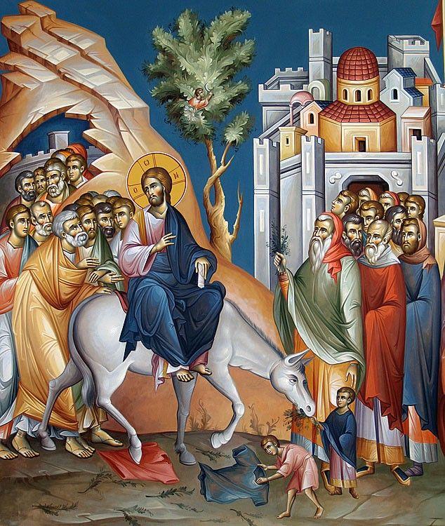 Источником иконографии Входа Господня в Иерусалим является Евангелие, где рассказывается о том, как Христос, сидя на молодом осле, в сопровождении учеников накануне иудейской пасхи въезжает в город, в котором Его предадут на распятие. Изображения едущего на осляти Спасителя известны уже в раннехристианском искусстве.