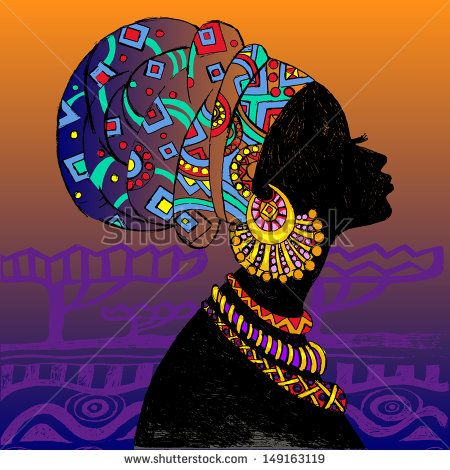 silhouette of woman. Beautiful black woman.