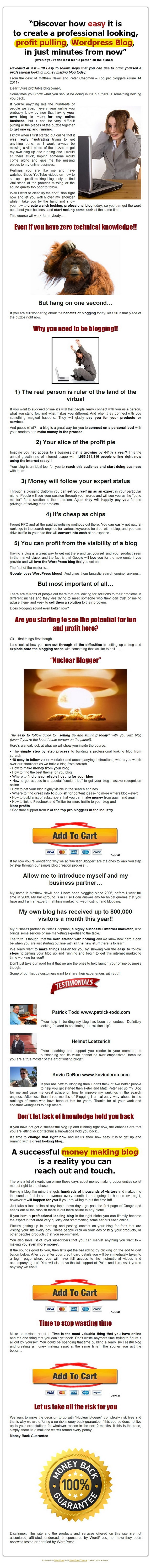 Deals For  Nuclear Blogger - How To Create An Effective Wordpress Blog  Compare Prices If it does not show. Please click on the blue square or link. Check Money Back Guarantee  [Nuclear Blogger - How To Create An Effective Wordpress Blog] So you are Fully Safeguarded Money Again Promise You are also guarded Cash Back again Ensure so your acquire is risk free of charge and you are secu... Read More --> (Click On Image)