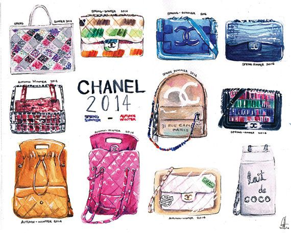 Chanel Bags 2014 8 x 10 Watercolor Illustration by PinkSienna, $15.00