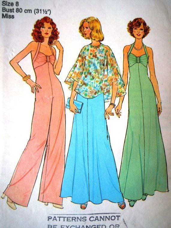 Vintage 1970s Simplicity Disco Jumpsuit Dress by FoxVintageUk