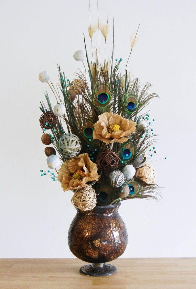 New Earthy Peacock Feather Floral Arrangement In Brown Glass Vase In Floral Decor Ebay