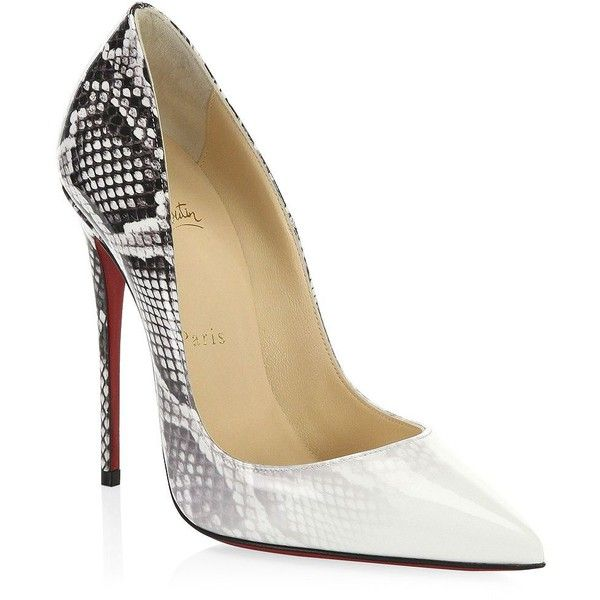 Christian Louboutin So Kate Patent Closed Toe Pumps ($725) ❤ liked on Polyvore featuring shoes, pumps, christian louboutin, christian louboutin shoes, pointed toe shoes, snake print pumps and patent leather pumps