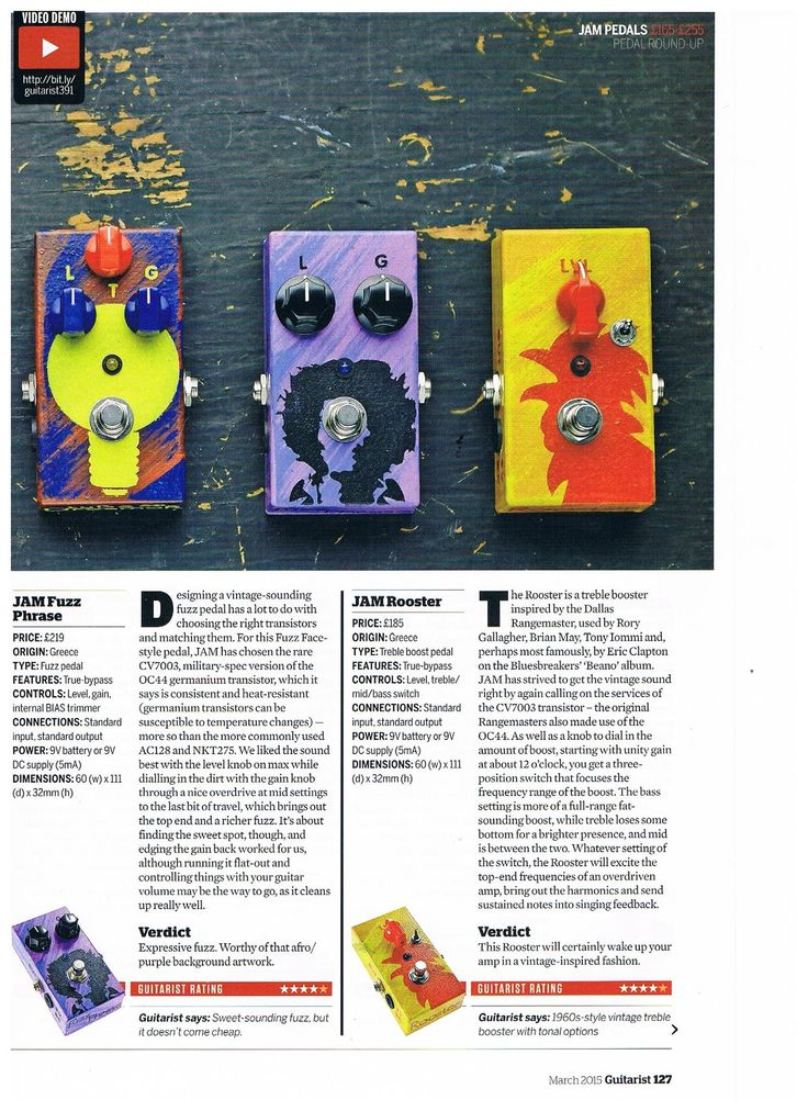 JAM pedals review by Guitarist March 2015 #jampedals #guitaristmagazine #tubedreamer58 #fuzzphase #rooster