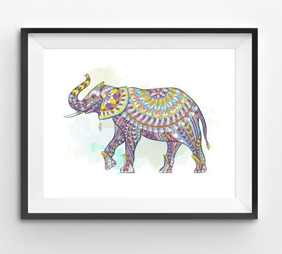 Colorful Elephant Art Elephant Wall Art Mosaic Elephant