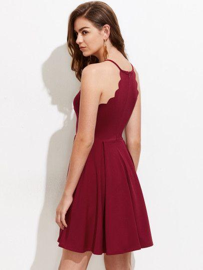 8e7b5ac8217e0 Scallop Edge Box Pleated Dress -SheIn(Sheinside)   original in 2019 ...