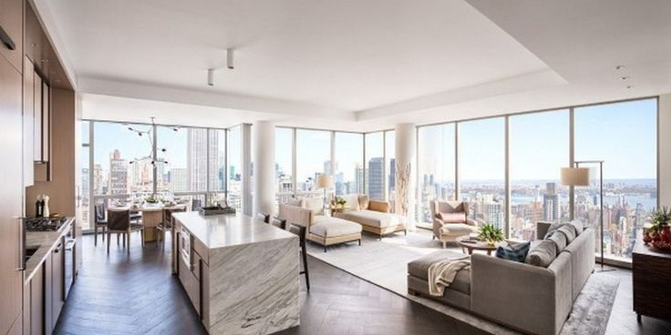 Apartment: Penthouse Design Ideas Modern Living Room With Sectional Sofa Also Marble Kitchen Island Plus Sleek Creame Kitchen Set: Awesome Apartment At New York City By Famous Home Designer