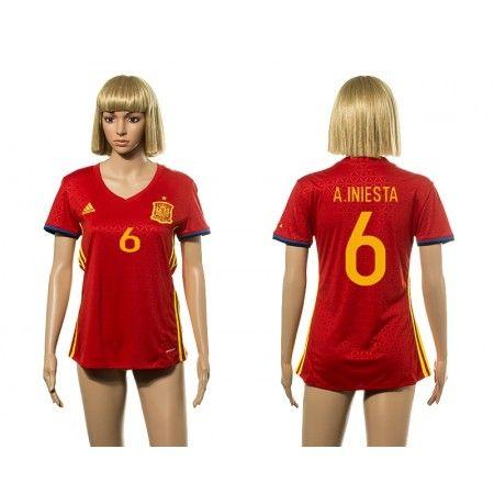 Spanien Trøje Dame 2016 #Andres Iniesta 6 Hjemmebanetrøje Kort ærmer,208,58KR,shirtshopservice@gmail.com