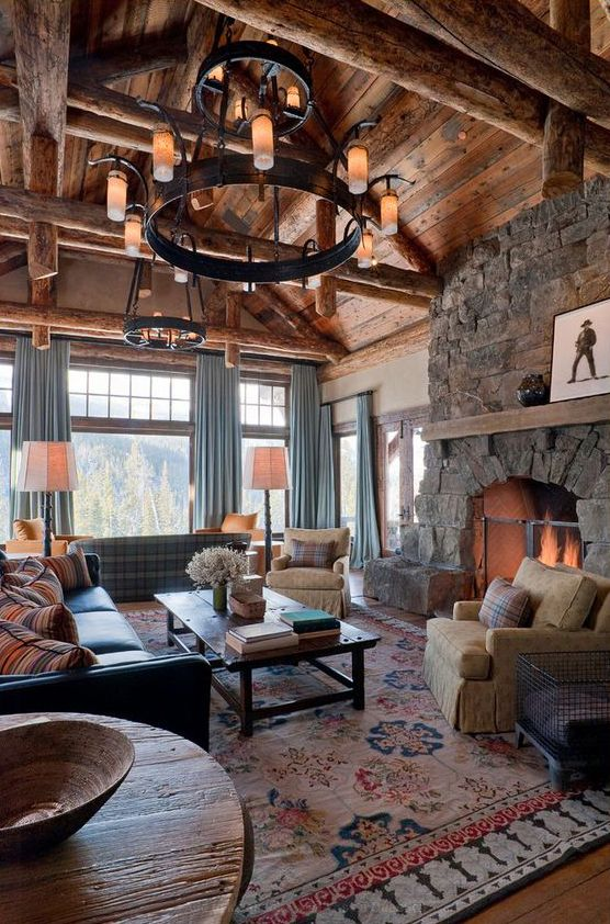 Great, great room! view, fireplace, cozy furnishings...Pearson Design Group Sky Art Lodge