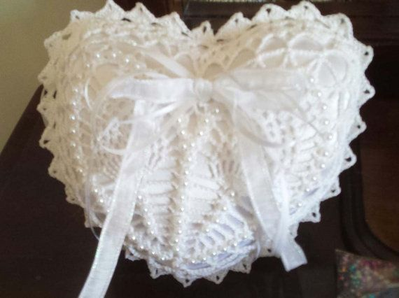 Crochet Satin Heart-shaped Ring Bearer Pillow