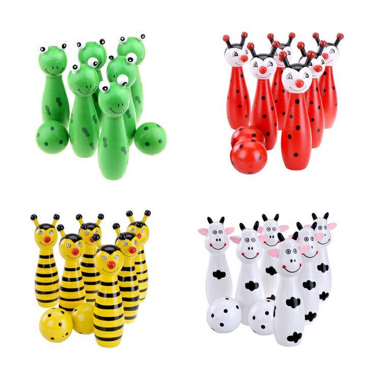 Детские игрушки Деревянные мультфильм животных шар для боулинга Установить с сетка мешок пакет US $6.82