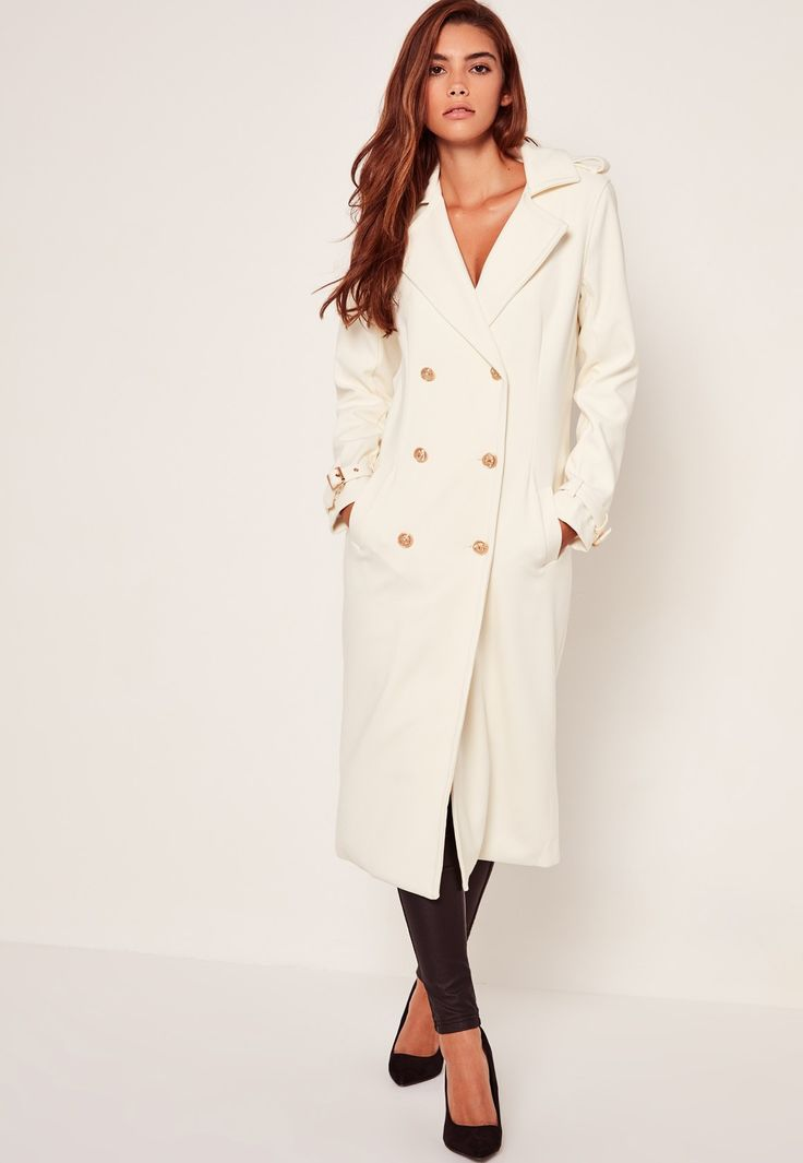 Missguided - Lightweight Military Trench Coat White