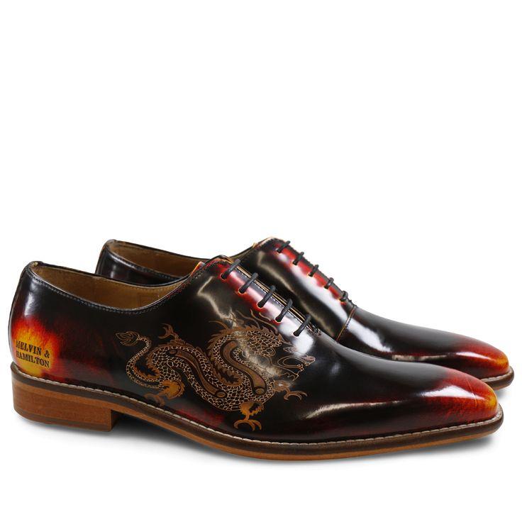 Oxford Schuhe Clark 6 Brush Multi 3 Lasercut Dragon LS Natural