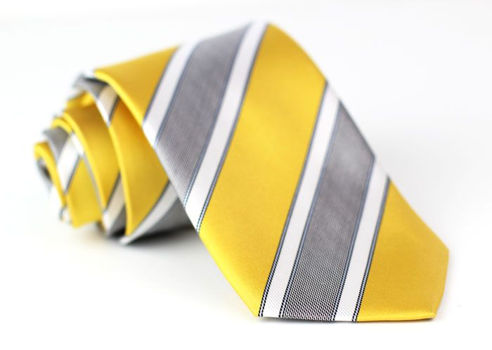 Lemon Yellow and Gray Striped Tie by Cavallieri. | Yellow ...