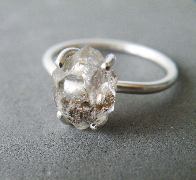 Herkimer Diamond Ring Sterling Silver Stacking Ring Rough Quartz Engagement Ring…