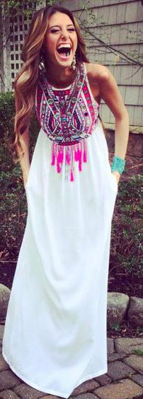 cute tribal maxi dress. I love the dream catcher design on the chest area, very chic