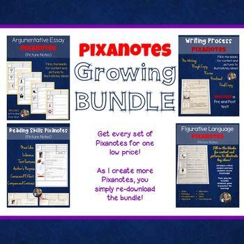 Middle School ELA Pixanotes - Picture notes -  {GROWING BUNDLE} ($)