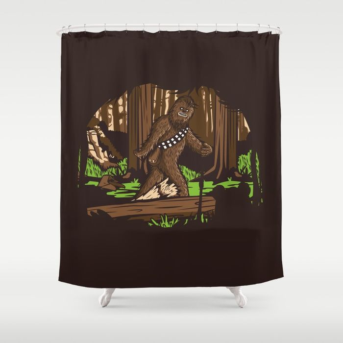 Buy The Bigfoot Of Endor Shower Curtain By Hoborobo 68 99 Society6 Com For The Bathroom Shower Curtain Endor Bigfoot