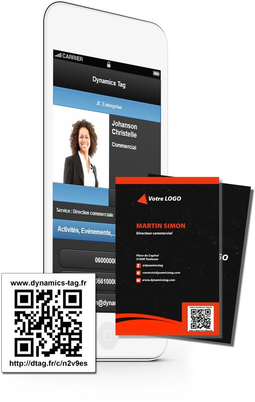Cartes de visite papier associée à une carte de visite virtuelles via un qrcode : carte noire texturée