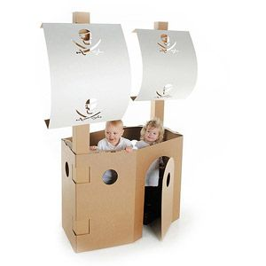 Pirate Ship - use cardboard box, cardboard or dowel rods, poster board for the masts, and make a jolly roger flag