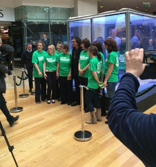 Tony with the team of Macmillan nurses at Bullring shopping center in Birmingham.