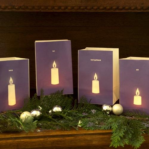 LICHTTÜTE x4 Lichttüten-AdventKRANZ Motiv: Kerze von augenwiese