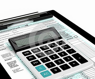 3d rendering of individual income tax return form and calculator over white