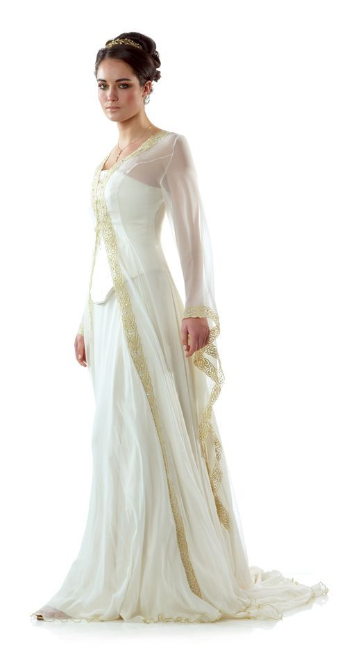 Celtic Wedding Dress from Lindsay Fleming - Tyra with Kilda Coat   See more about celtic wedding dresses, dress designs and celtic wedding.
