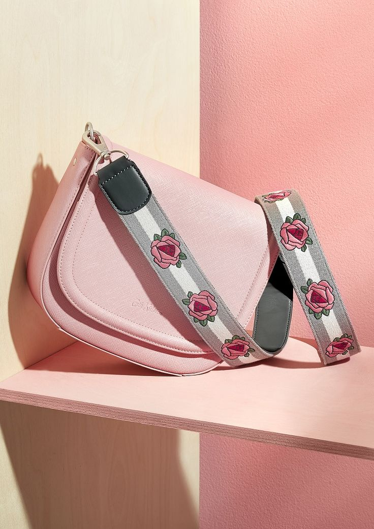 Pink saddle bag with embroidered rose grey strap from our 'Love Your Handles' collection of bags and straps #Loveyourhandles