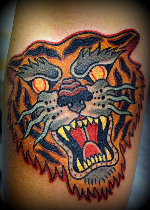 17 best images about tiger tattoo on pinterest leg for Traditional americana tattoos