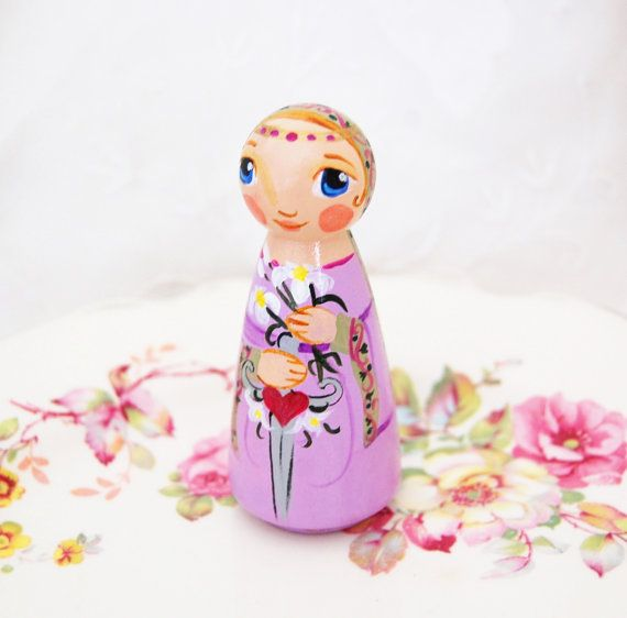 Saint Victoria Catholic Saint Doll  Wooden Toy  by SaintAnneStudio, $48.00