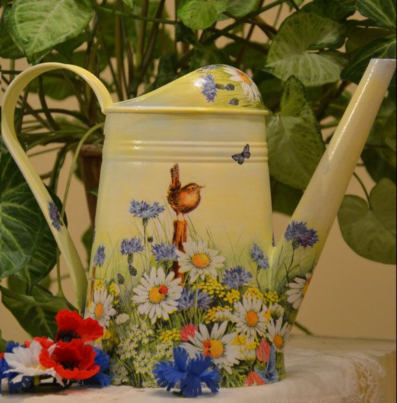 watering can decoupage handmade gift camomile