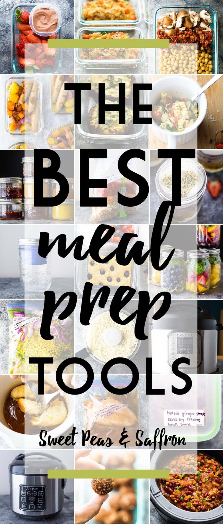 The BEST meal prep containers, equipment and tools that will help you prep healthy, portable lunches, freezer-friendly dinners, and an organized fridge.