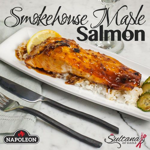 Sweet salmon grilled to perfection on a cast iron skillet, topped in a caramelized, smoky maple sauce.