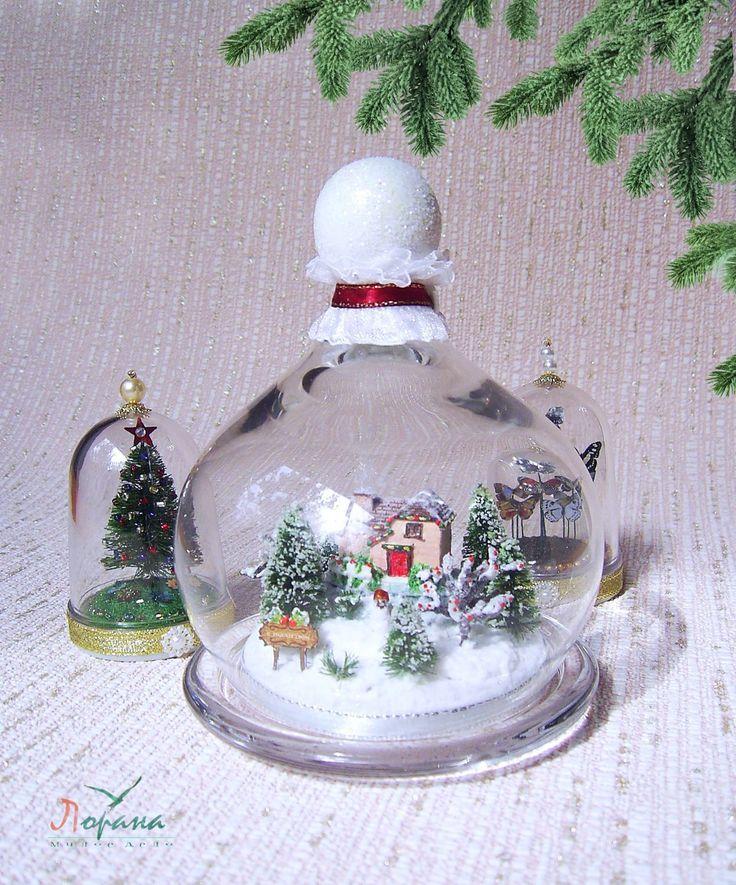 """Купить Миниатюрная композиция """"Зимний пейзаж"""" - подарки и сувениры, подарки на новый год, полимерная глина"""