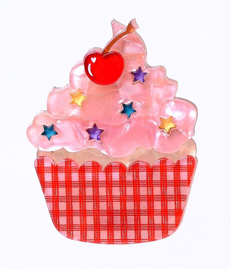 Erstwilder Cherry On Top Cupcake Resin Brooch Clip