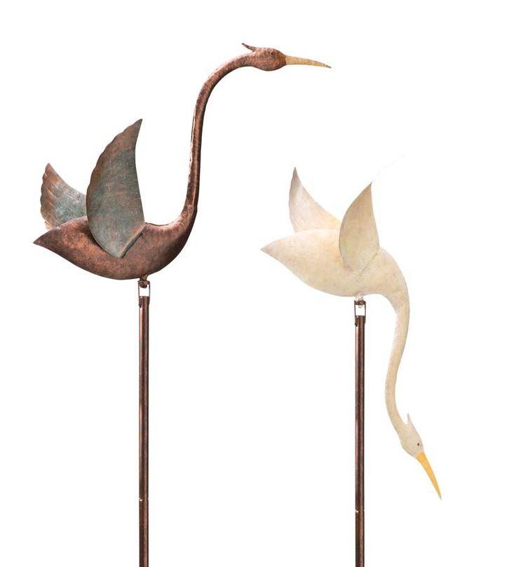 Recycled Metal Crane Balancing Garden Stake | Wind